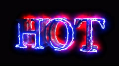 Blue and Red color flame energy Hot word overlay 4k 3D animation - stock footage