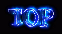 Blue flame energy Top word overlay 4k 3D animation - stock footage