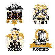 Cowboy Retro Emblems Stock Illustration