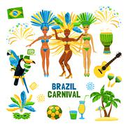 Brazil Carnival Isolated Icon Set - stock illustration