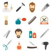 Stock Illustration of Barber Color Icons