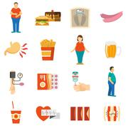 Obesity Problem Icons Stock Illustration