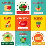 Charity Emblems Design Flat Icons Composition Stock Illustration