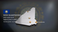 3D animated Map of New Hampshire Stock Footage