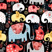 pattern of colorful elephants - stock illustration