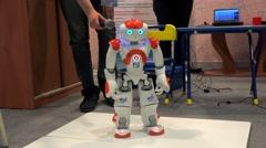 Entertainment autonomous mobile robot at the VII International IT Forum. - stock footage