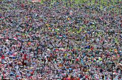 Catholic pilgrims gathering during the Pentecost - stock photo