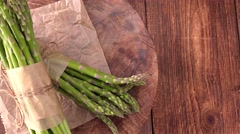Portion of green Asparagzs (4K, seamless loopable) Stock Footage