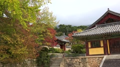 Inner courtyard of Bulguksa Temple at autumn. Gyeongju, South Korea. Stock Footage