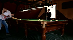 Man playing pool, billiards Stock Footage