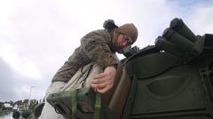Norway, March 2016, Soldier Fix Water Tank On Vehicle Winter Area - stock footage