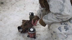 Norway, March 2016, Soldier Light Burner Snowy Area Stock Footage