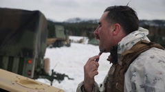 Norway, March 2016, Soldier At Rasure Stock Footage