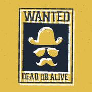 "Wild west poster ""Wanted dead or alive..."". On paper texture Stock Illustration"