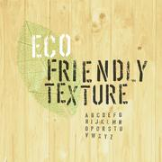 Eco Friendly Design Template (Texture and Stencil Alphabet and Leaf Symbol) - stock illustration