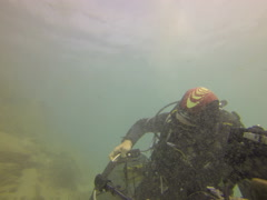Underwater cleaning up discarded fishing tackle 2.7K UltraHD. Stock Footage
