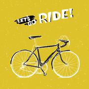 """Bicycle Illustration with Phrase """"Let's Go Ride"""" on Yellow Textured Backgroun - stock illustration"""