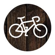 Bicycle minimalistic icon on aged wooden wall background Stock Illustration