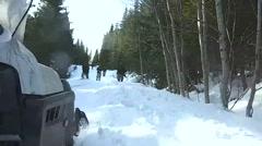 Norway, March 2016, Ski Doo Drive Beside Walking Soldiers - stock footage
