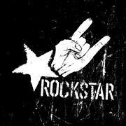 Rockstar symbol, sign of the horns gesture grunge composition on black - stock illustration