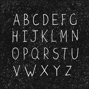 Hand-drawn Alphabet on Aged Blackboard Texture - stock illustration