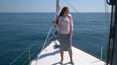 Romantic proposal scene on yacht - stock footage