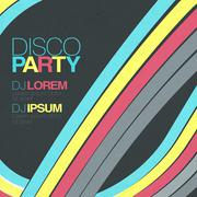 Retro disco flyer template - stock illustration