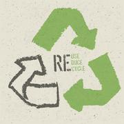 "Reuse conceptual symbol and ""Reuse, Reduce, Recycle"" text on Recycled Paper T - stock illustration"