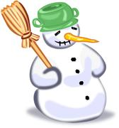Cartoon snowman with broom isolated on white Stock Illustration