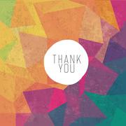 Grungy retro background with Thank You message - stock illustration