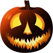Scary Halloween pumpkin isolated on white Stock Illustration