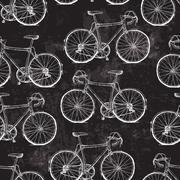 Vintage Bicycles Seamless Pattern on Black Grunge Background - stock illustration