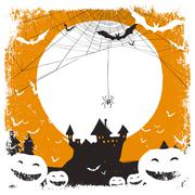 Halloween illustration with huanted castle and spider web and space for text - stock illustration
