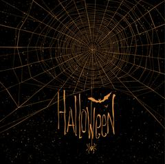 Halloween themed background with spider web and text - stock illustration