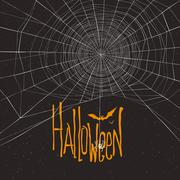 Halloween themed background with spider web and text Stock Illustration
