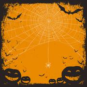 Halloween themed background with space for text. Halloween symbols - pumpkins Stock Illustration