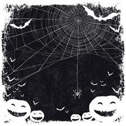 Halloween themed background with space for text. Halloween symbols - pumpkins - stock illustration