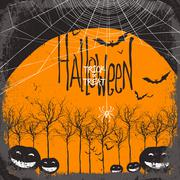 Halloween vector background. Dry tree and pumpkins. Full moon and bats. Spide - stock illustration