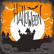 Halloween vector illustration with haunted castle Stock Illustration