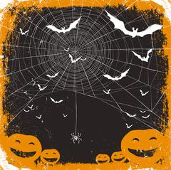 Halloween vector illustration. Spider web, pumpkins and bats Stock Illustration