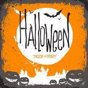 Halloween vector illustration. Dry tree, full moon and pumpkins and bats and  Stock Illustration