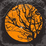 Halloween vector background. Dry tree and spider web Stock Illustration