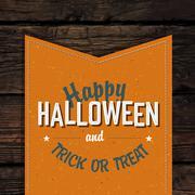 Happy Halloween VIntage Tag Design On Old Scratched Planks. Vector Illustrati - stock illustration