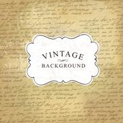 Aged vintage old paper with handwritings background. Vector illustration - stock illustration