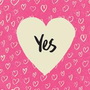 'Yes'. Handwritten letters in heart shape. On hearts pattern. Pink textured g - stock illustration