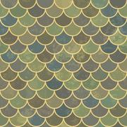 Stock Illustration of Blue asian fish scale retro pattern. Grunge and seamless. Grunge effects can