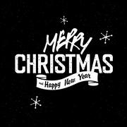 Merry Christmas Lettering. White letters on black textured background. With s - stock illustration