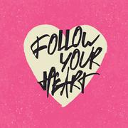 Inspirational quote 'Follow your heart'. Handwritten lettering in heart shape - stock illustration