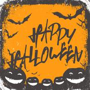 Halloween themed background with hand drawn lettering and bats silhouettes an Stock Illustration