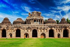Ancient ruins of Elephant Stables - stock photo